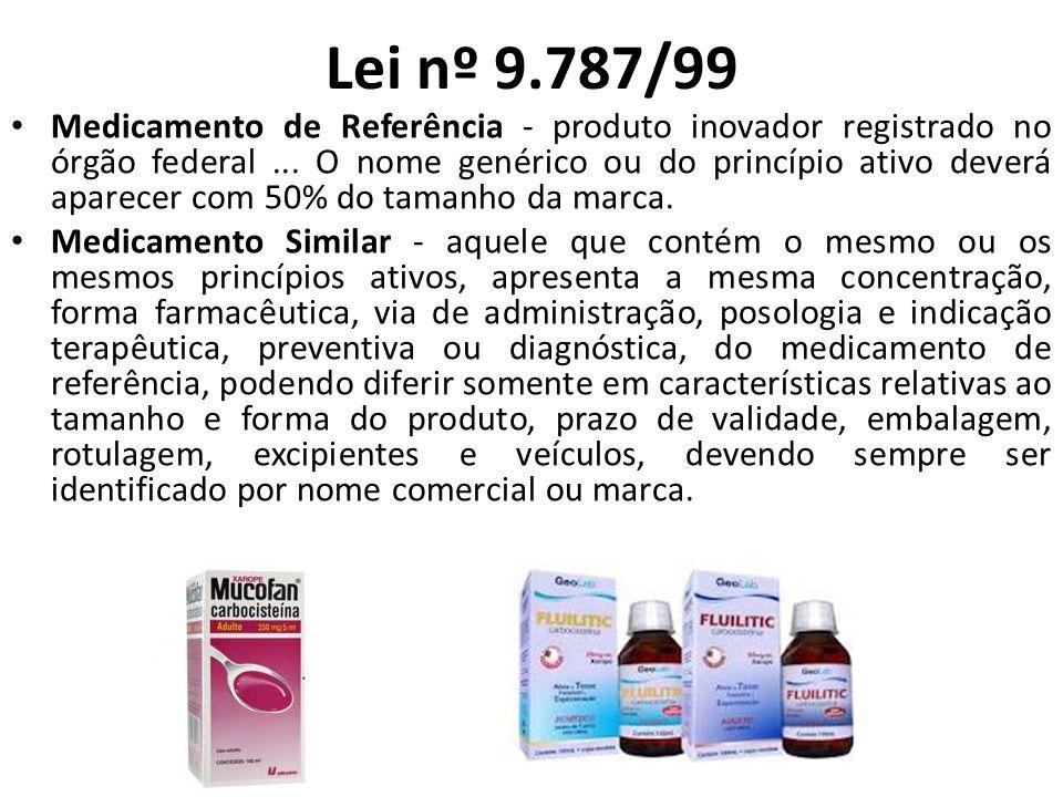 Lei nº 9.787/99 Medicamento de Referência - produto inovador registrado no órgão federal... O nome genérico ou do princípio ativo deverá aparecer com