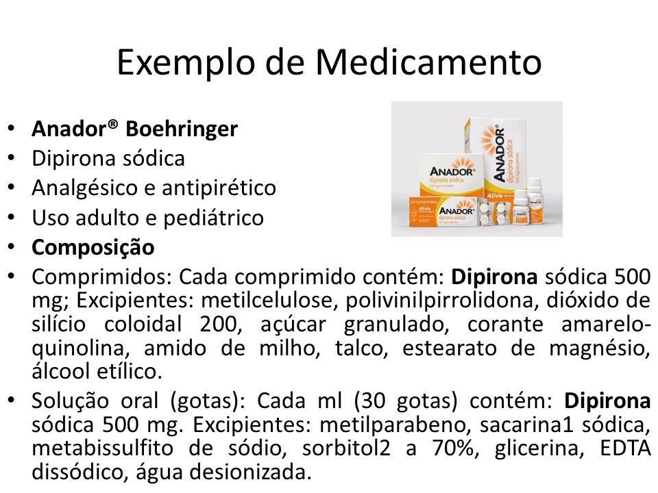 Exemplo de Medicamento Anador® Boehringer Dipirona sódica Analgésico e antipirético Uso adulto e pediátrico Composição Comprimidos: Cada comprimido co