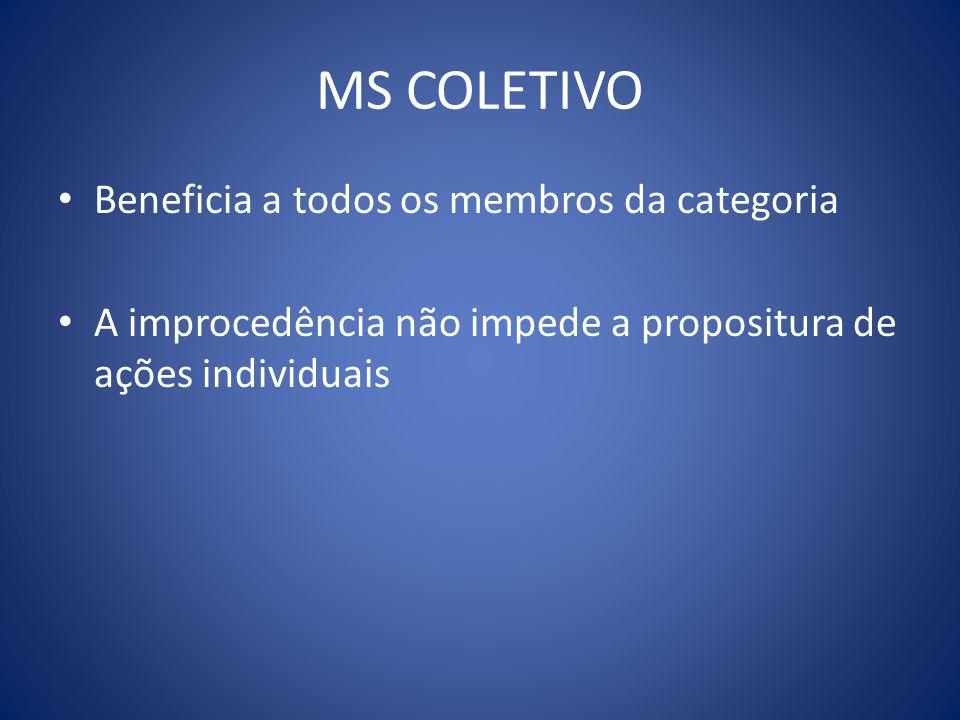 MS COLETIVO Beneficia a todos os membros da categoria A improcedência não impede a propositura de ações individuais