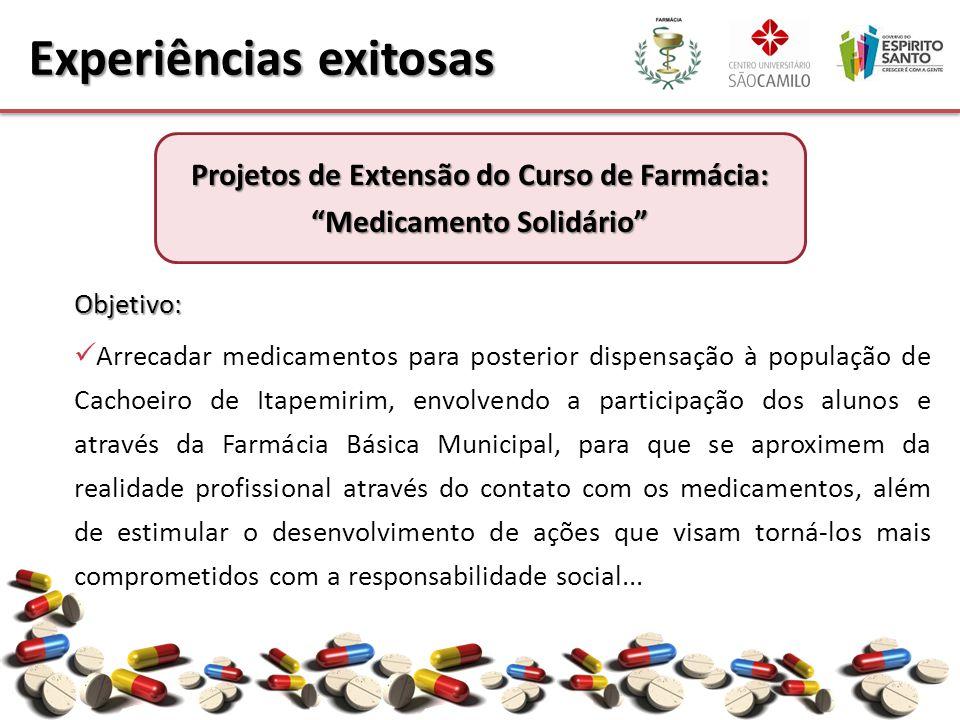 Objetivo: Arrecadar medicamentos para posterior dispensação à população de Cachoeiro de Itapemirim, envolvendo a participação dos alunos e através da