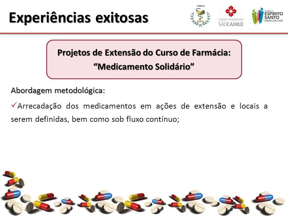 Abordagem metodológica: Arrecadação dos medicamentos em ações de extensão e locais a serem definidas, bem como sob fluxo contínuo; Experiências exitosas Projetos de Extensão do Curso de Farmácia: Medicamento Solidário