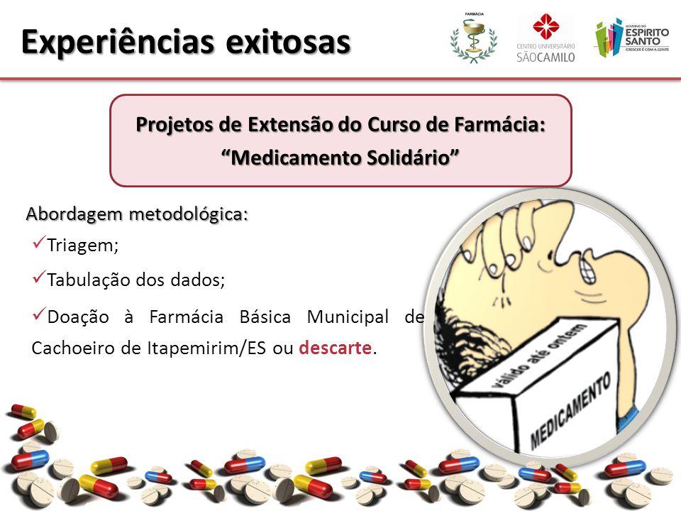 Abordagem metodológica: Triagem; Tabulação dos dados; Doação à Farmácia Básica Municipal de Cachoeiro de Itapemirim/ES ou descarte. Experiências exito