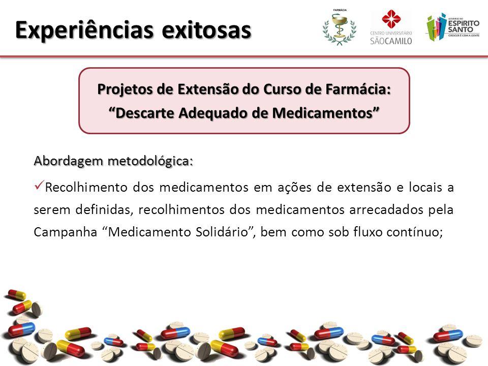 Abordagem metodológica: Recolhimento dos medicamentos em ações de extensão e locais a serem definidas, recolhimentos dos medicamentos arrecadados pela Campanha Medicamento Solidário , bem como sob fluxo contínuo; Experiências exitosas Projetos de Extensão do Curso de Farmácia: Descarte Adequado de Medicamentos