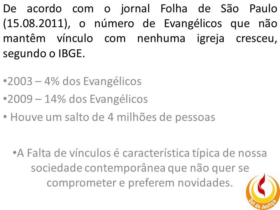 De acordo com o jornal Folha de São Paulo (15.08.2011), o número de Evangélicos que não mantêm vínculo com nenhuma igreja cresceu, segundo o IBGE.