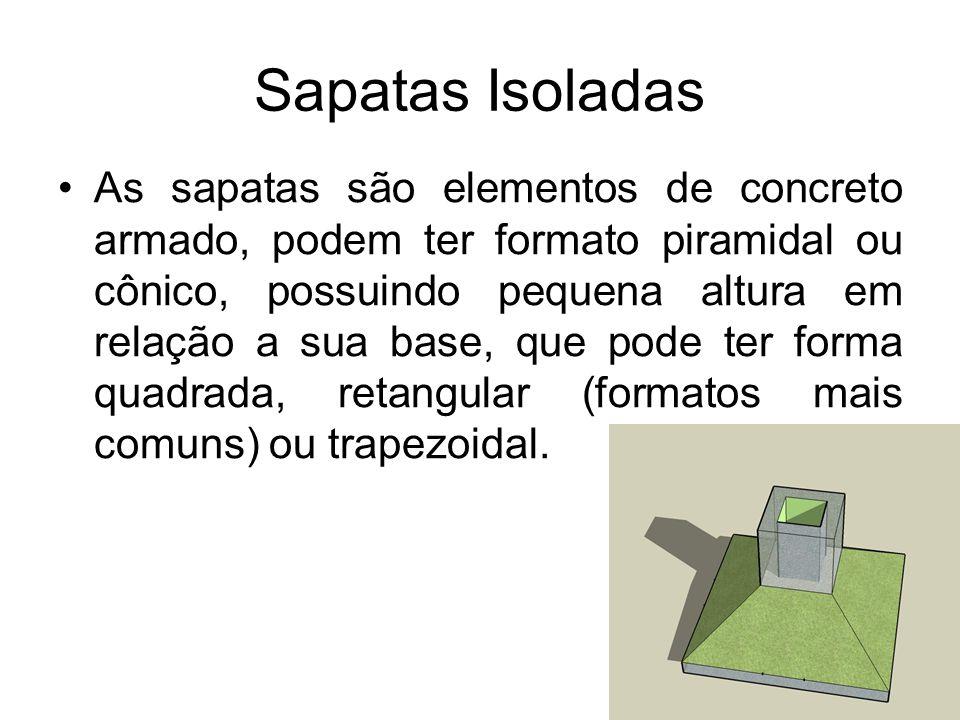 Sapatas Isoladas As sapatas são elementos de concreto armado, podem ter formato piramidal ou cônico, possuindo pequena altura em relação a sua base, q