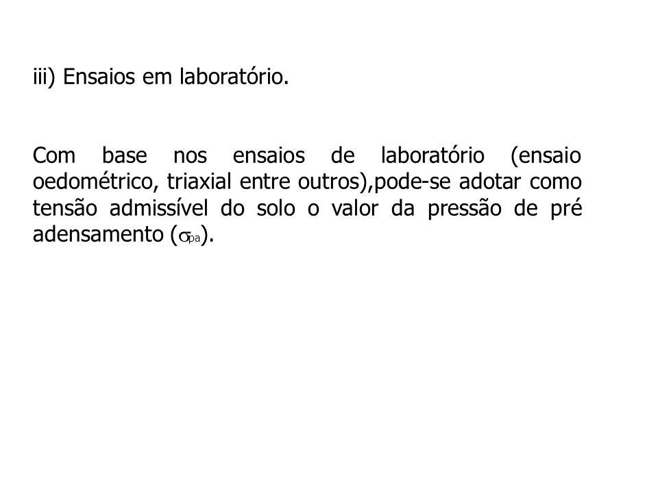 iii) Ensaios em laboratório. Com base nos ensaios de laboratório (ensaio oedométrico, triaxial entre outros),pode-se adotar como tensão admissível do