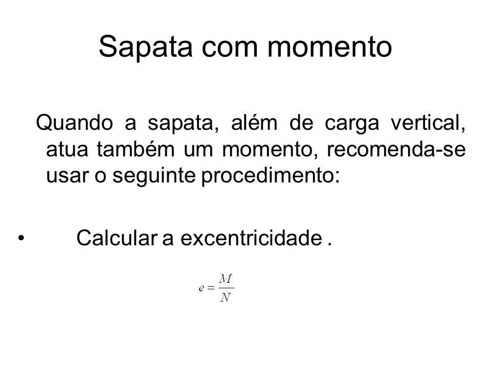 Sapata com momento Quando a sapata, além de carga vertical, atua também um momento, recomenda-se usar o seguinte procedimento: Calcular a excentricida