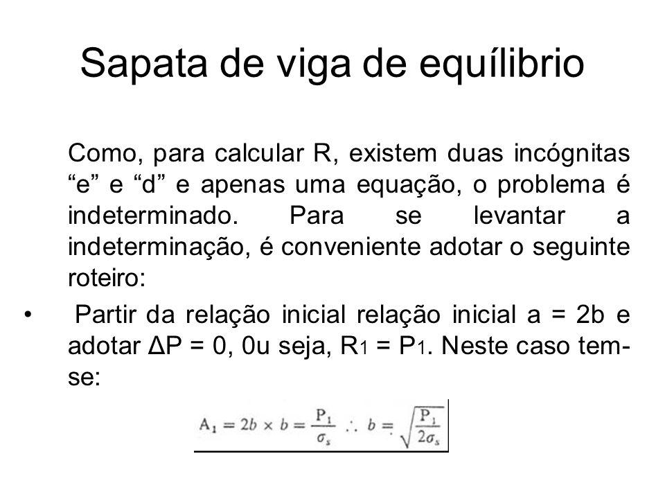 """Sapata de viga de equílibrio Como, para calcular R, existem duas incógnitas """"e"""" e """"d"""" e apenas uma equação, o problema é indeterminado. Para se levant"""