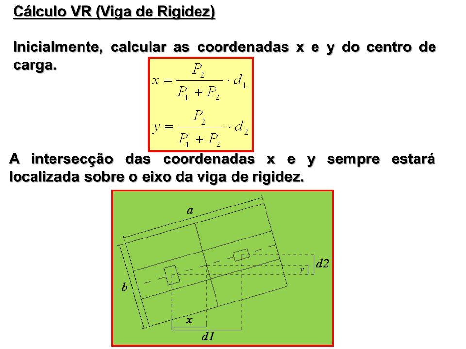 Cálculo VR (Viga de Rigidez) Inicialmente, calcular as coordenadas x e y do centro de carga. A intersecção das coordenadas x e y sempre estará localiz