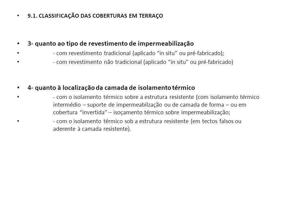 """9.1. CLASSIFICAÇÃO DAS COBERTURAS EM TERRAÇO 3- quanto ao tipo de revestimento de impermeabilização - com revestimento tradicional (aplicado """"in situ"""""""