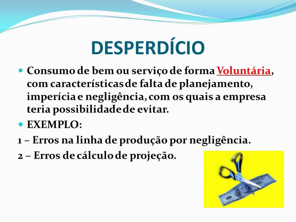 DESPERDÍCIO Consumo de bem ou serviço de forma Voluntária, com características de falta de planejamento, imperícia e negligência, com os quais a empre