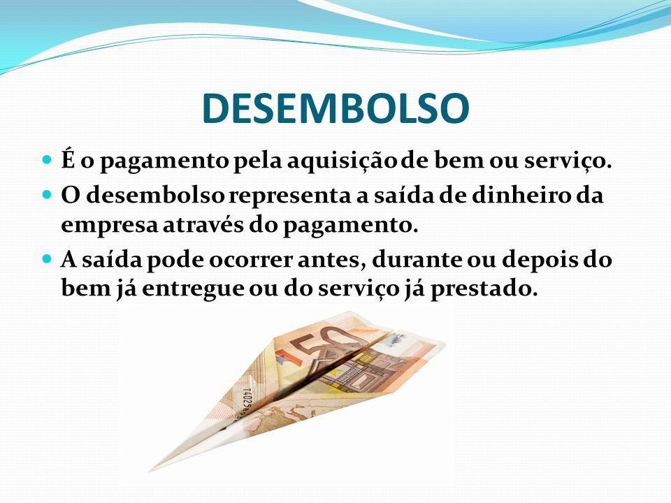 DESEMBOLSO É o pagamento pela aquisição de bem ou serviço. O desembolso representa a saída de dinheiro da empresa através do pagamento. A saída pode o