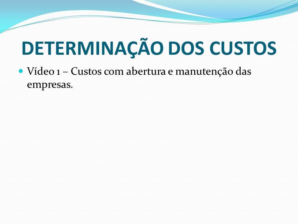 DETERMINAÇÃO DOS CUSTOS Vídeo 1 – Custos com abertura e manutenção das empresas.