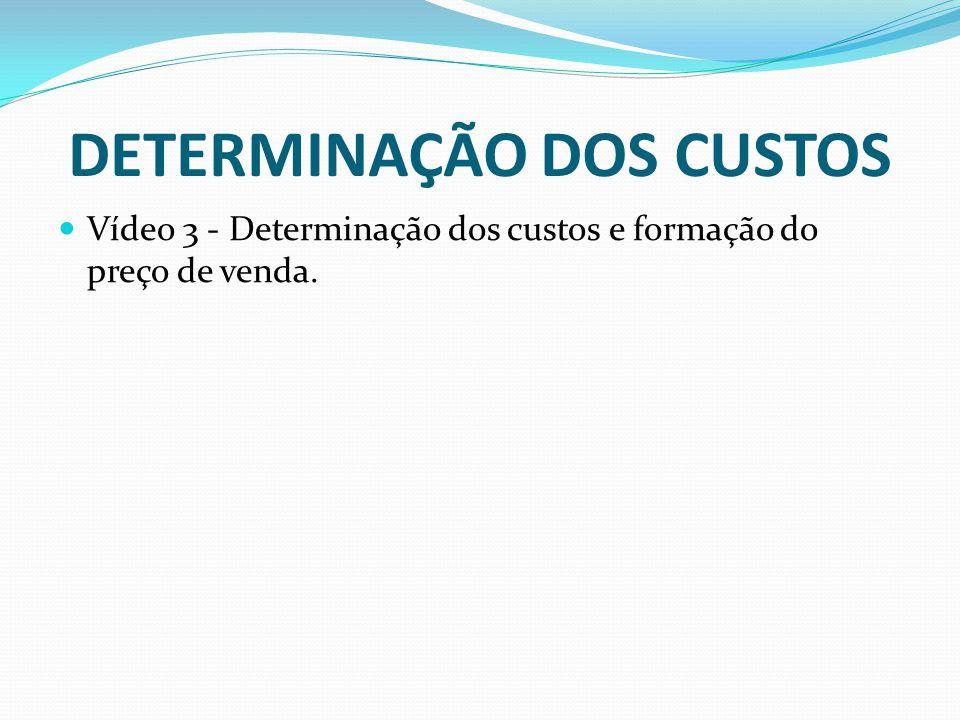 DETERMINAÇÃO DOS CUSTOS Vídeo 3 - Determinação dos custos e formação do preço de venda.