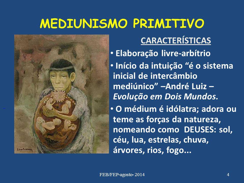"""MEDIUNISMO PRIMITIVO CARACTERÍSTICAS Elaboração livre-arbítrio Início da intuição """"é o sistema inicial de intercâmbio mediúnico"""" –André Luiz – Evoluçã"""