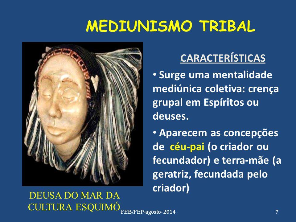 MEDIUNISMO TRIBAL CARACTERÍSTICAS Surge uma mentalidade mediúnica coletiva: crença grupal em Espíritos ou deuses. Aparecem as concepções de céu-pai (o