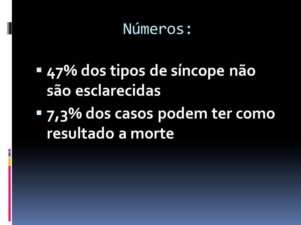 Números:  47% dos tipos de síncope não são esclarecidas  7,3% dos casos podem ter como resultado a morte