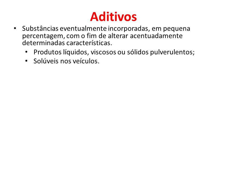 Aditivos Substâncias eventualmente incorporadas, em pequena percentagem, com o fim de alterar acentuadamente determinadas características. Produtos lí