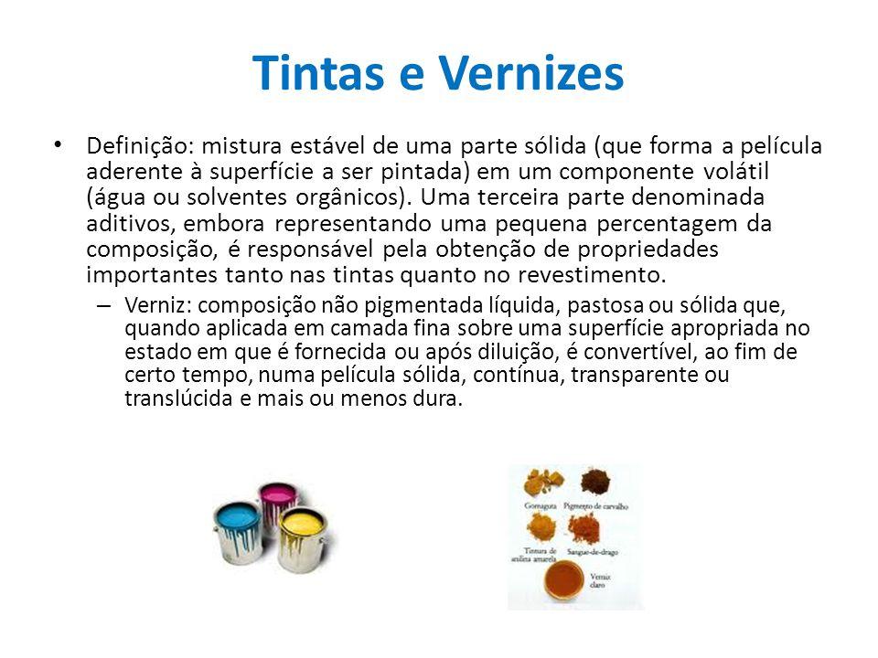 Tintas e Vernizes Definição: mistura estável de uma parte sólida (que forma a película aderente à superfície a ser pintada) em um componente volátil (