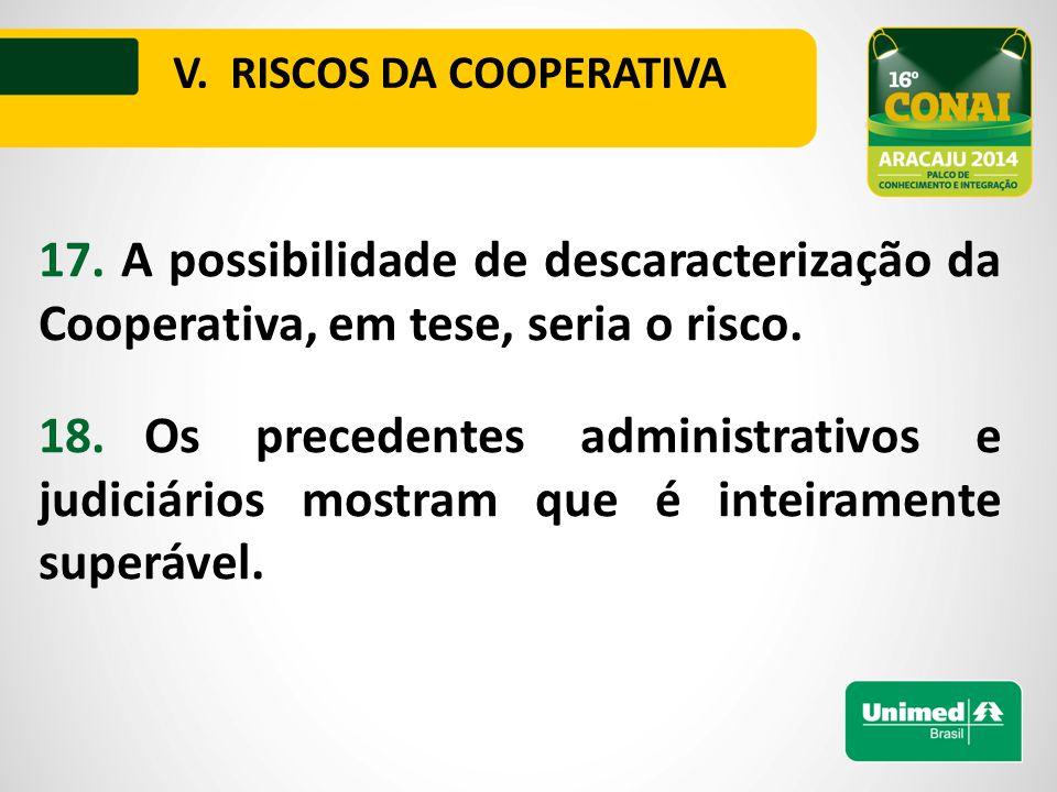 17. A possibilidade de descaracterização da Cooperativa, em tese, seria o risco.