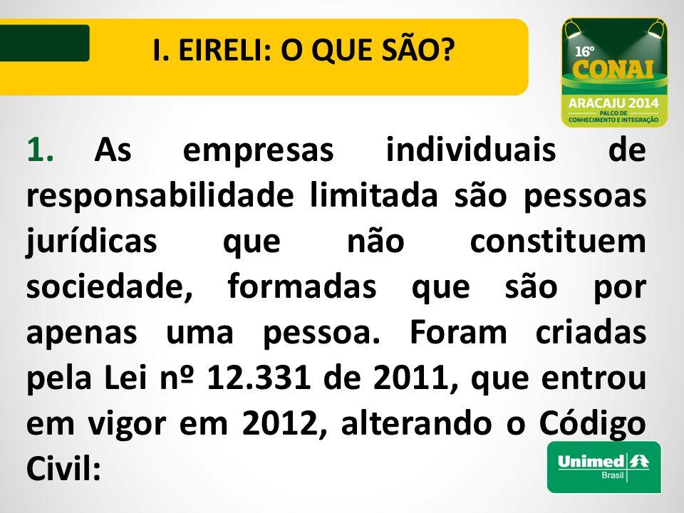I. EIRELI: O QUE SÃO.
