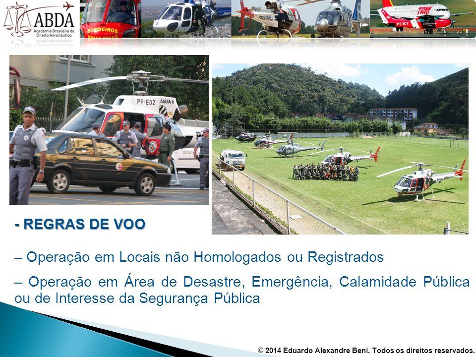 - REGRAS DE VOO – Operação em Locais não Homologados ou Registrados – Operação em Área de Desastre, Emergência, Calamidade Pública ou de Interesse da