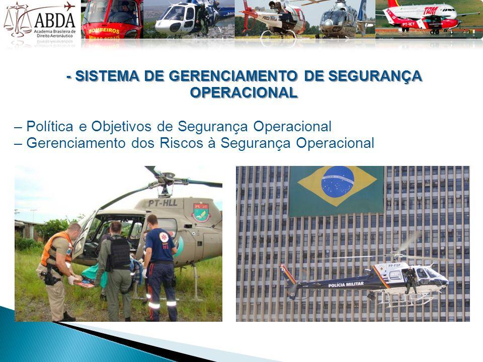 - SISTEMA DE GERENCIAMENTO DE SEGURANÇA OPERACIONAL – Política e Objetivos de Segurança Operacional – Gerenciamento dos Riscos à Segurança Operacional