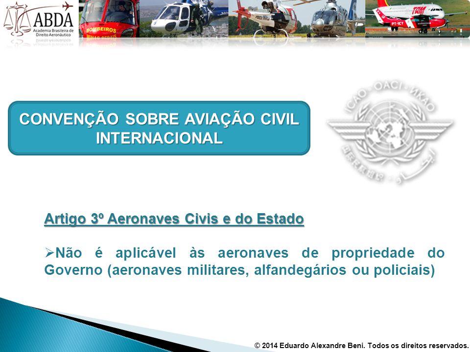 CONVENÇÃO SOBRE AVIAÇÃO CIVIL INTERNACIONAL Artigo 3º Aeronaves Civis e do Estado  Não é aplicável às aeronaves de propriedade do Governo (aeronaves