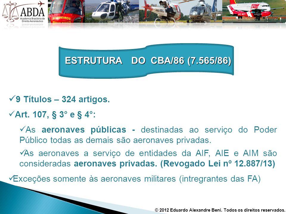 9 Títulos – 324 artigos. Art. 107, § 3° e § 4°: As aeronaves públicas - destinadas ao serviço do Poder Público todas as demais são aeronaves privadas.