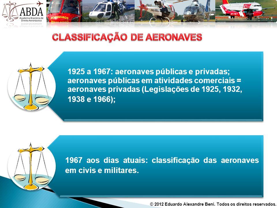 1925 a 1967: aeronaves públicas e privadas; aeronaves públicas em atividades comerciais = aeronaves privadas (Legislações de 1925, 1932, 1938 e 1966);
