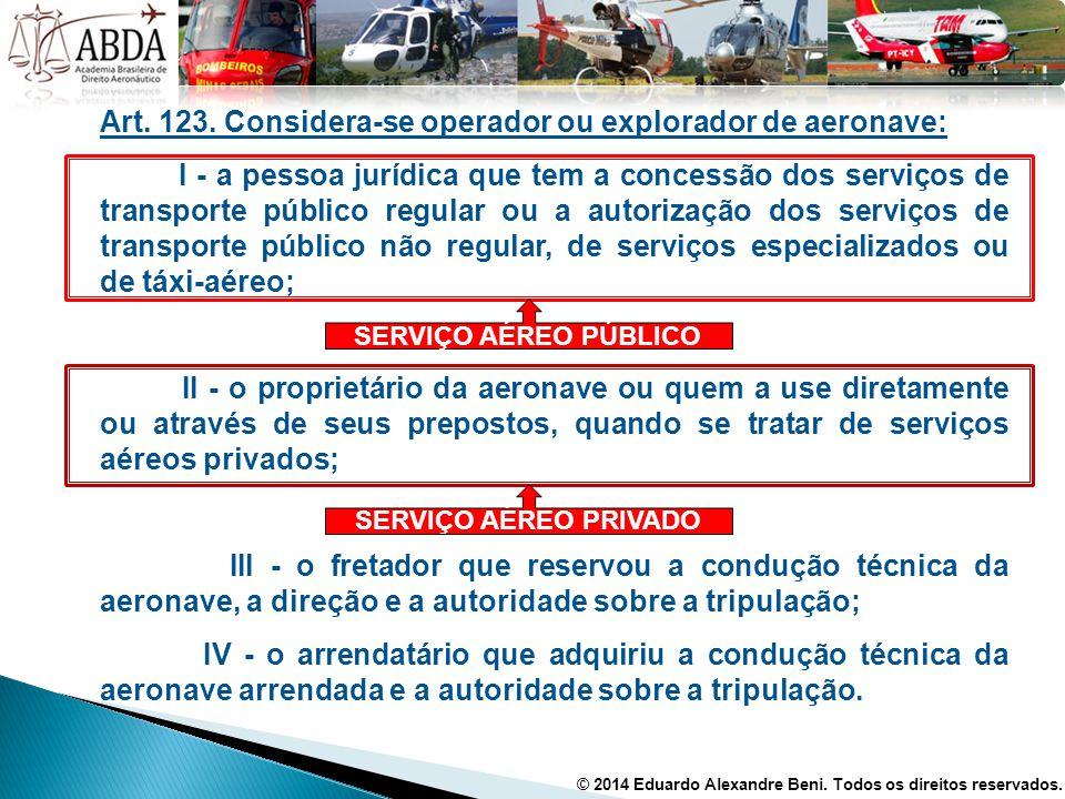 Art. 123. Considera-se operador ou explorador de aeronave: I - a pessoa jurídica que tem a concessão dos serviços de transporte público regular ou a a