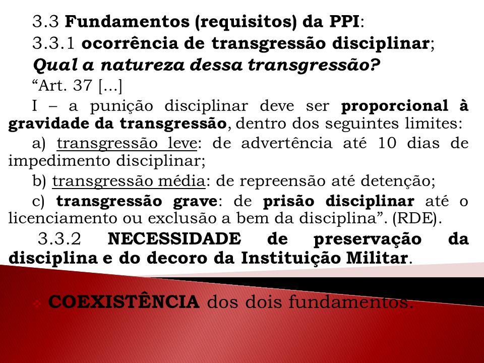 """3.3 Fundamentos (requisitos) da PPI : 3.3.1 ocorrência de transgressão disciplinar ; Qual a natureza dessa transgressão? """"Art. 37 [...] I – a punição"""