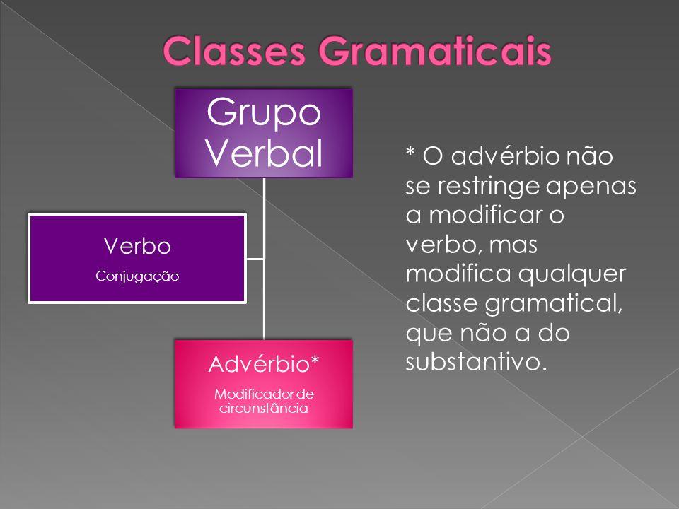 Grupo Verbal Advérbio* Modificador de circunstância Verbo Conjugação * O advérbio não se restringe apenas a modificar o verbo, mas modifica qualquer c
