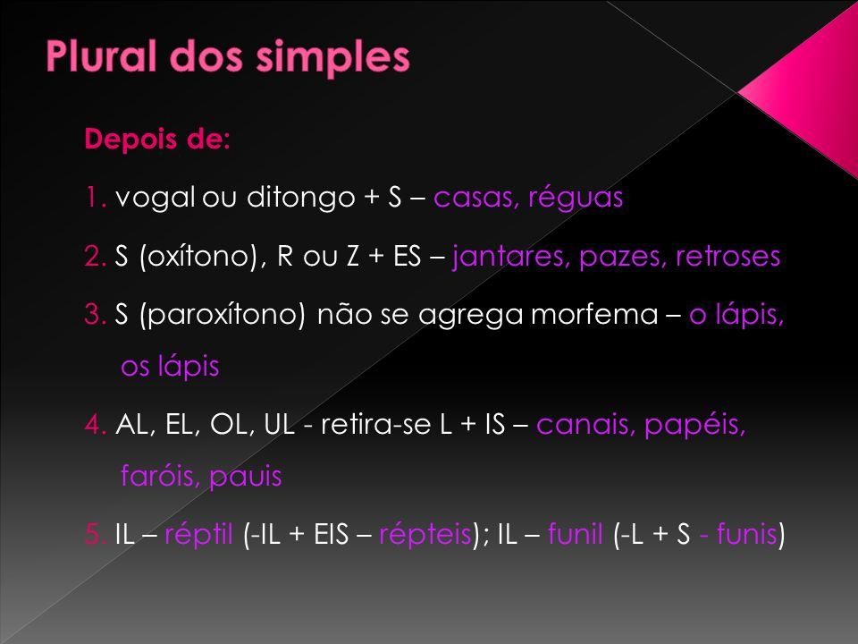 Depois de: 1. vogal ou ditongo + S – casas, réguas 2. S (oxítono), R ou Z + ES – jantares, pazes, retroses 3. S (paroxítono) não se agrega morfema – o