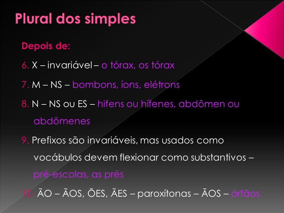 Depois de: 6. X – invariável – o tórax, os tórax 7. M – NS – bombons, íons, elétrons 8. N – NS ou ES – hifens ou hífenes, abdômen ou abdômenes 9. Pref
