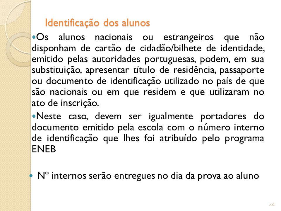 Identificação dos alunos Os alunos nacionais ou estrangeiros que não disponham de cartão de cidadão/bilhete de identidade, emitido pelas autoridades portuguesas, podem, em sua substituição, apresentar título de residência, passaporte ou documento de identificação utilizado no país de que são nacionais ou em que residem e que utilizaram no ato de inscrição.