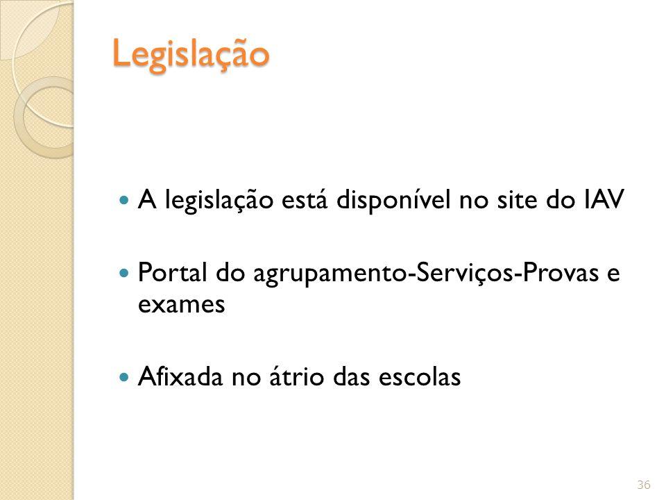 Legislação A legislação está disponível no site do IAV Portal do agrupamento-Serviços-Provas e exames Afixada no átrio das escolas 36