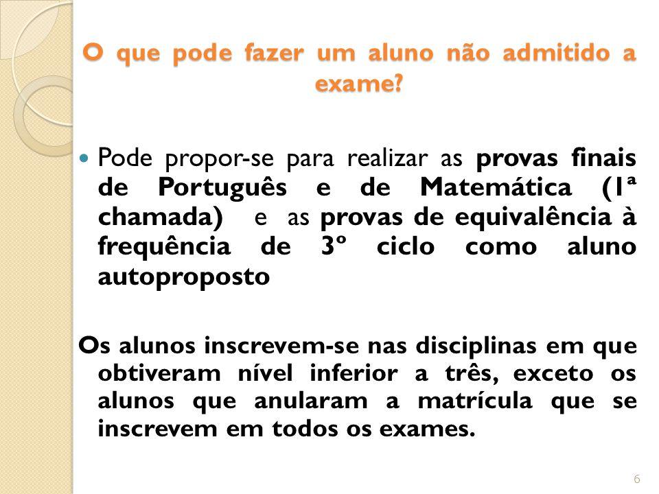 O que pode fazer um aluno não admitido a exame.