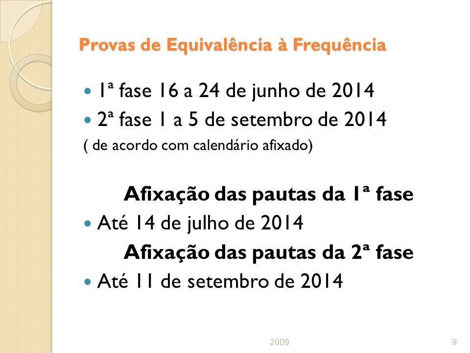 Provas de Equivalência à Frequência 1ª fase 16 a 24 de junho de 2014 2ª fase 1 a 5 de setembro de 2014 ( de acordo com calendário afixado) Afixação das pautas da 1ª fase Até 14 de julho de 2014 Afixação das pautas da 2ª fase Até 11 de setembro de 2014 20099