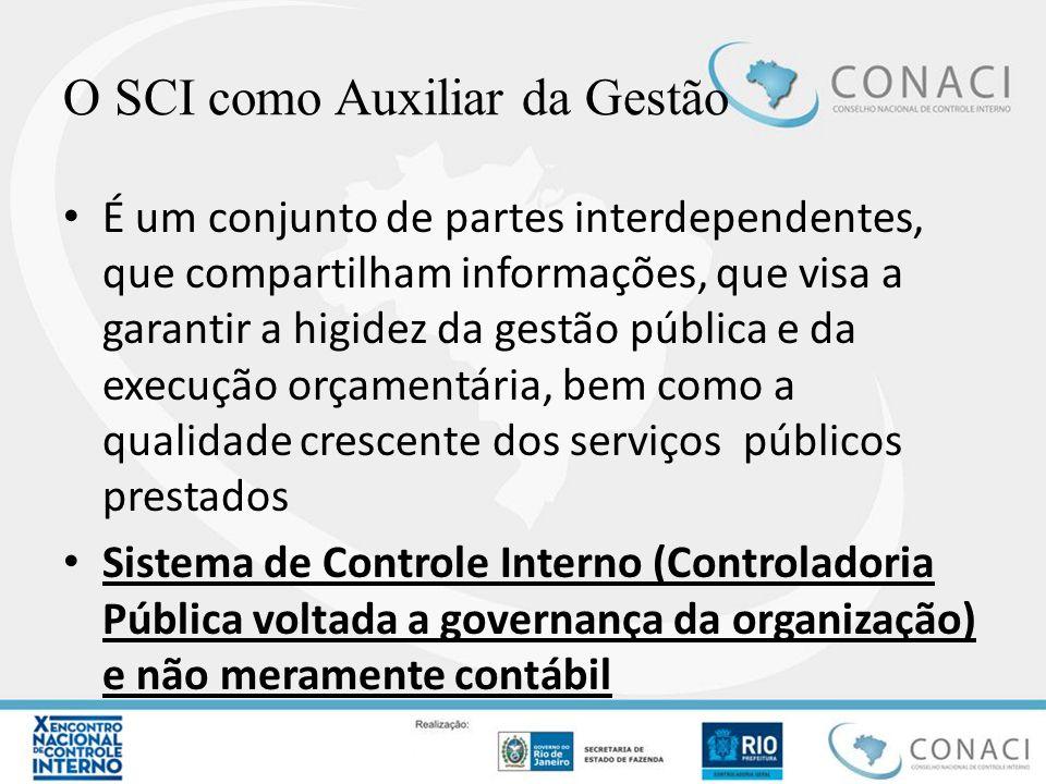 O SCI como Auxiliar da Gestão É um conjunto de partes interdependentes, que compartilham informações, que visa a garantir a higidez da gestão pública
