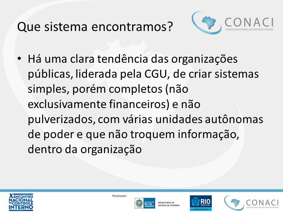 Que sistema encontramos? Há uma clara tendência das organizações públicas, liderada pela CGU, de criar sistemas simples, porém completos (não exclusiv