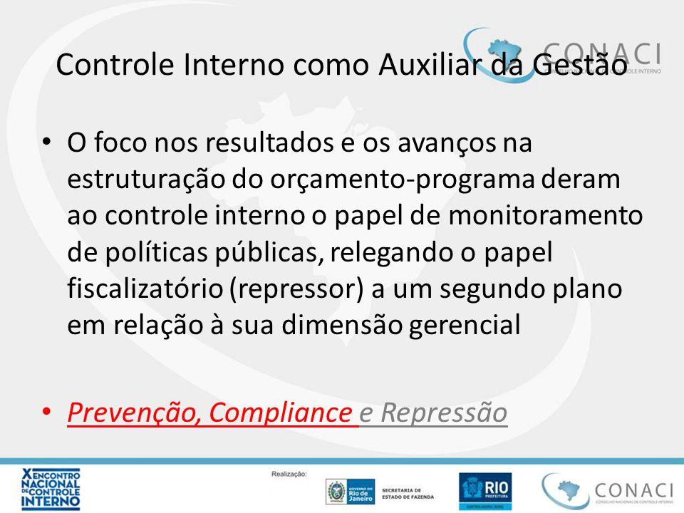 Controle Interno como Auxiliar da Gestão O foco nos resultados e os avanços na estruturação do orçamento-programa deram ao controle interno o papel de