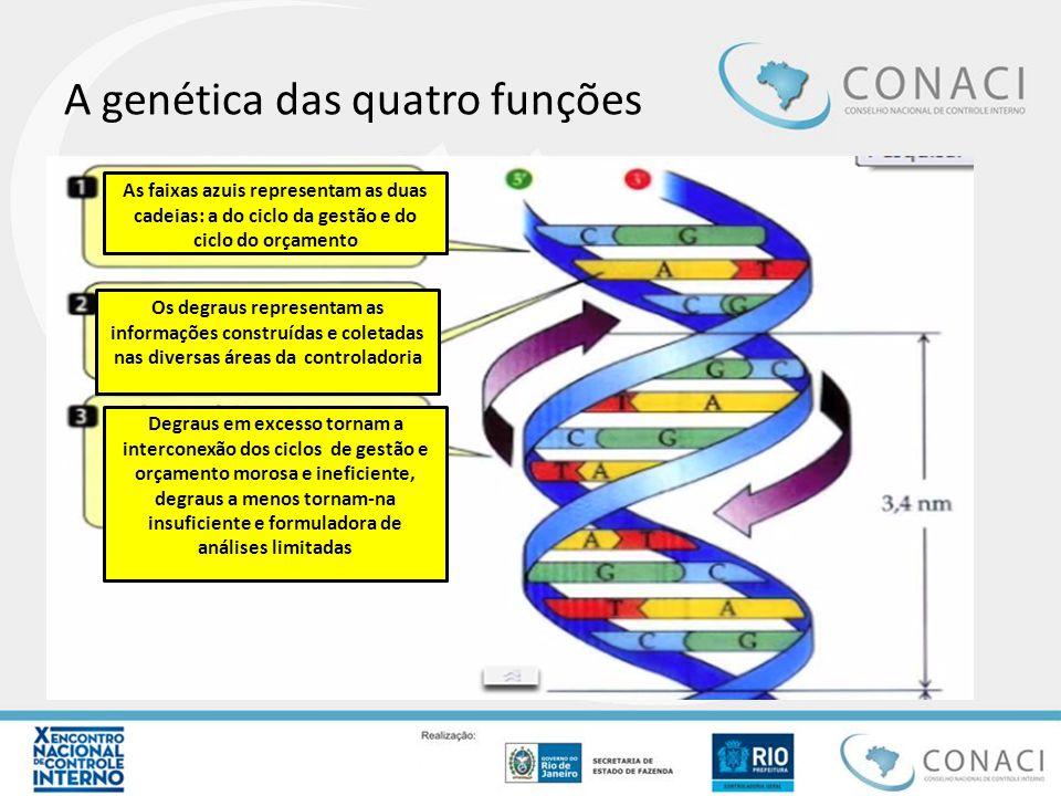 A genética das quatro funções As faixas azuis representam as duas cadeias: a do ciclo da gestão e do ciclo do orçamento Os degraus representam as info