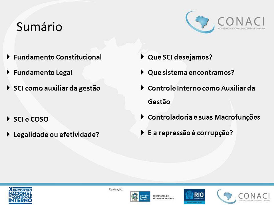 Sumário  Fundamento Constitucional  Fundamento Legal  SCI como auxiliar da gestão  SCI e COSO  Legalidade ou efetividade?  Que SCI desejamos? 