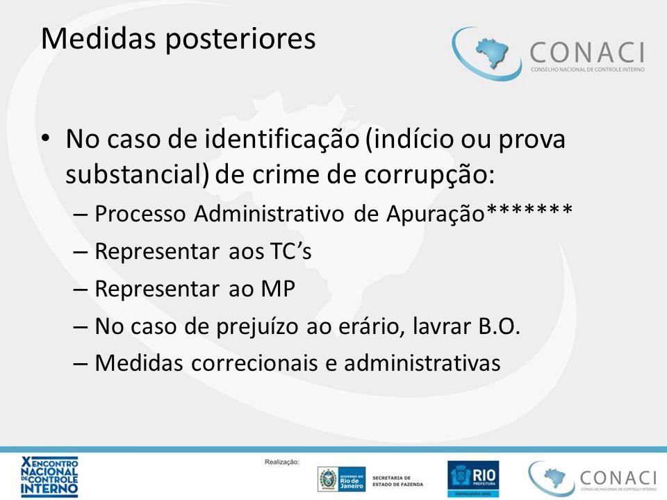 Medidas posteriores No caso de identificação (indício ou prova substancial) de crime de corrupção: – Processo Administrativo de Apuração******* – Repr