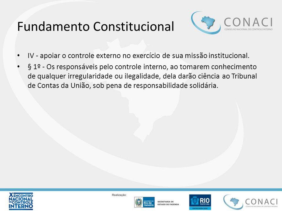 Fundamento Constitucional IV - apoiar o controle externo no exercício de sua missão institucional. § 1º - Os responsáveis pelo controle interno, ao to