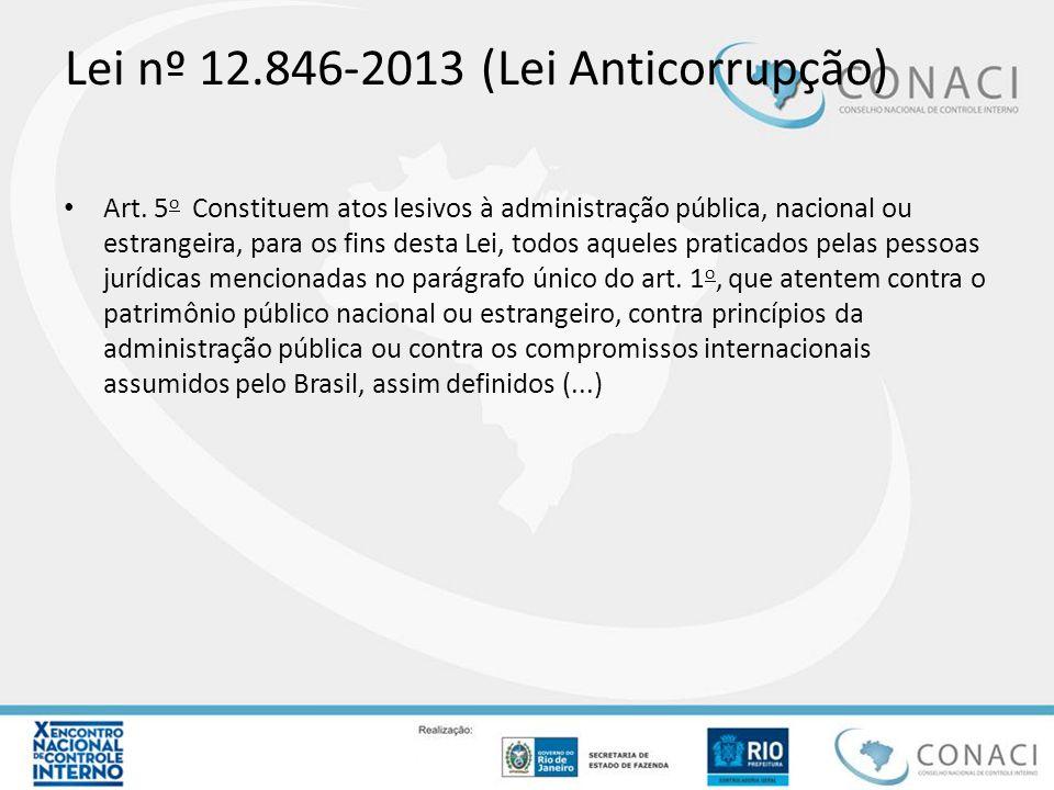 Lei nº 12.846-2013 (Lei Anticorrupção) Art. 5 o Constituem atos lesivos à administração pública, nacional ou estrangeira, para os fins desta Lei, todo