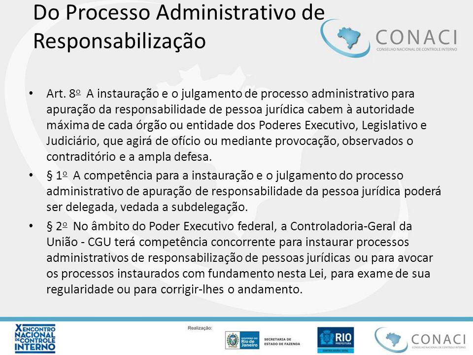 Do Processo Administrativo de Responsabilização Art. 8 o A instauração e o julgamento de processo administrativo para apuração da responsabilidade de