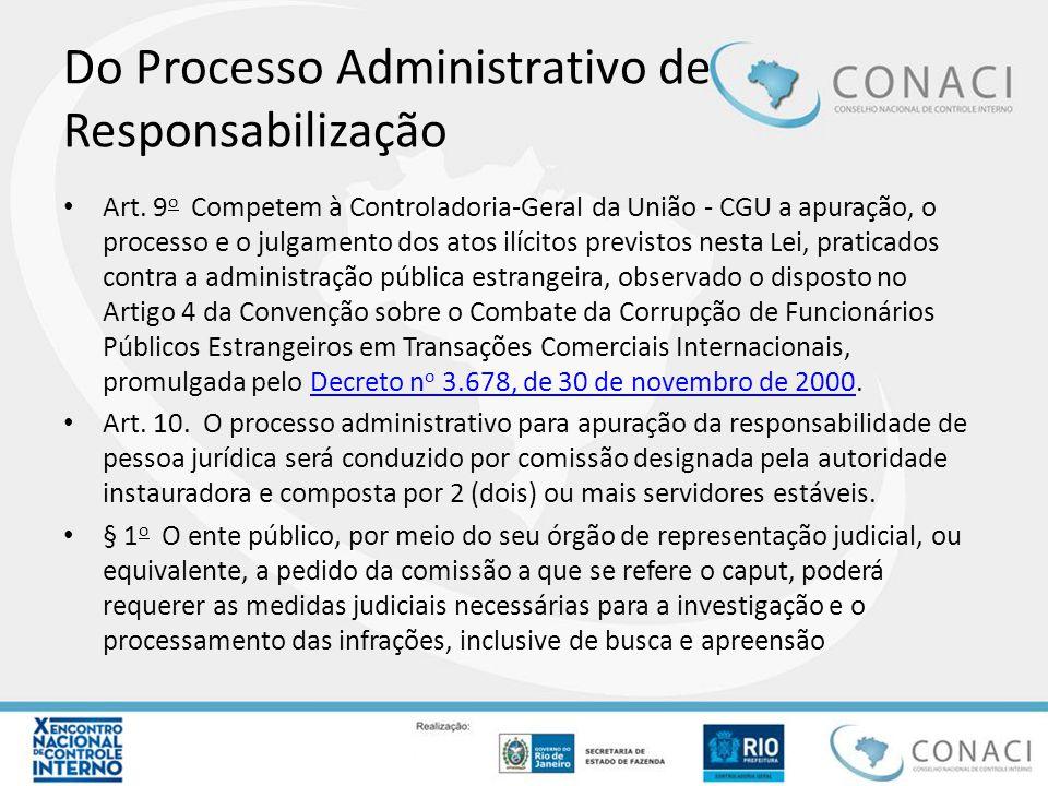 Do Processo Administrativo de Responsabilização Art. 9 o Competem à Controladoria-Geral da União - CGU a apuração, o processo e o julgamento dos atos