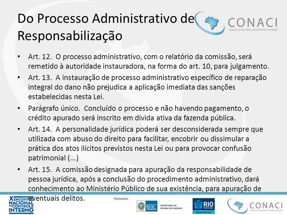 Do Processo Administrativo de Responsabilização Art. 12. O processo administrativo, com o relatório da comissão, será remetido à autoridade instaurado